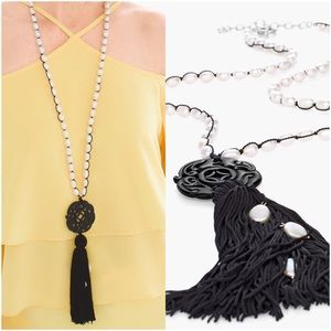 {Chico's} Faux-Pearl Tassel Necklace